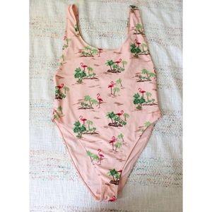 F21 Flamingo Palm Tree One Piece Bathing Swimsuit